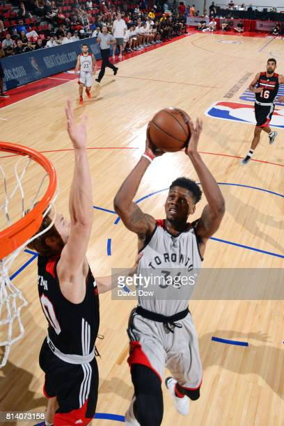 Alfonzo McKinnie of the Toronto Raptors shoots the ball during the game against the Portland Trail Blazers during the 2017 Las Vegas Summer League...