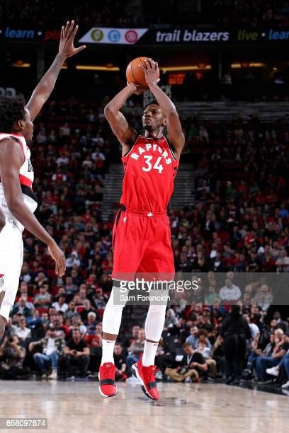 Alfonzo McKinnie of the Toronto Raptors shoots the ball during the game against the Portland Trail Blazers during a preseason game on October 5 2017...
