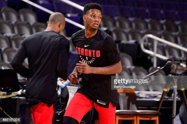 Alfonzo McKinnie of the Toronto Raptors warms up before the game against the Phoenix Suns on December 13 2017 at Talking Stick Resort Arena in...