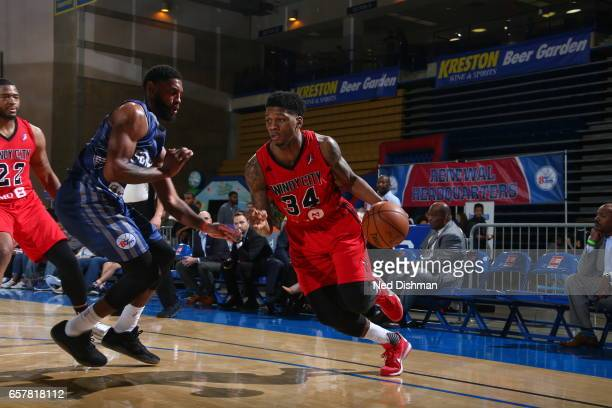 Alfonzo McKinnie of the Windy City Bulls against Shane Edwards of the Delaware 87ers during the game on March 25 2017 at Bob Carpenter Center in...