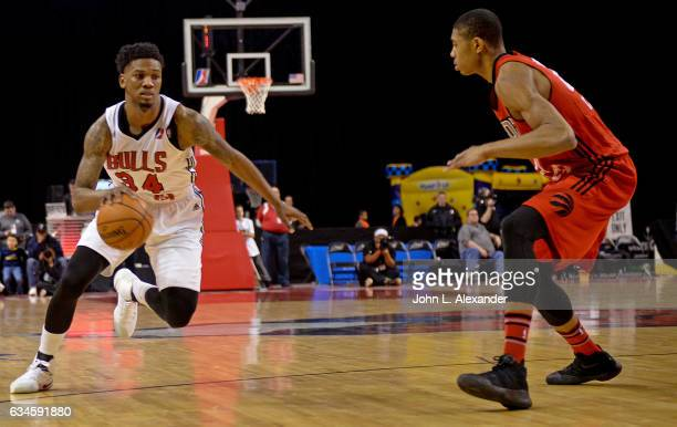 Alfonzo McKinnie of the Windy City Bulls dribbles the ball against the Raptors 905 on February 09 2017 at the Sears Centre Arena in Hoffman Estates...