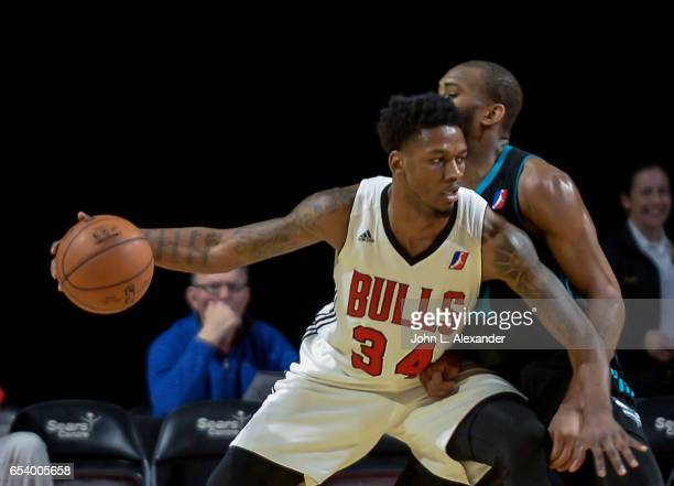 Alfonzo McKinnie of the Windy City Bulls dribbles the ball against the Greensboro Swarm on March 15 2017 at the Sears Centre Arena in Hoffman Estates...