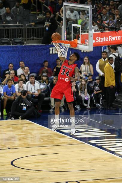 Alfonzo McKinnie of the Windy City Bulls dunks during the NBA DLeague Dunk Contest as part of 2017 AllStar Weekend at the MercedesBenz Super Dome on...