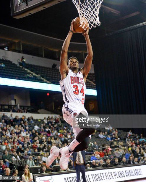 Alfonzo McKinnie of the Windy City Bulls dunks the ball against Long Island Nets on February 11 2017 at the Sears Centre Arena in Hoffman Estates...