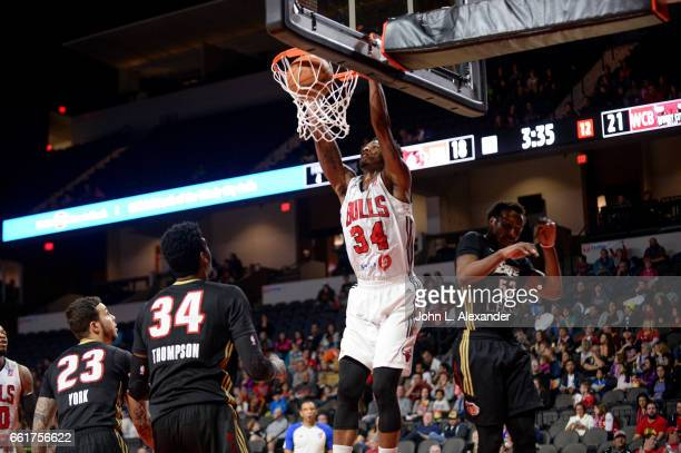 Alfonzo McKinnie of the Windy City Bulls dunks the ball against the Erie Bayhawks on March 28 2017 at the Sears Centre Arena in Hoffman Estates...