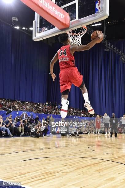 Alfonzo McKinnie of the Windy City Bulls dunks the ball during the 2017 NBA Development League Slam Dunk Contest as a part of 2017 AllStar Weekend at...