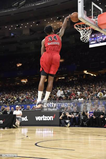Alfonzo McKinnie of the Windy City Bulls dunks the ball during the 2017 NBA Development League Slam Dunk Contest as a part of 2017 AllStar Weekend at...
