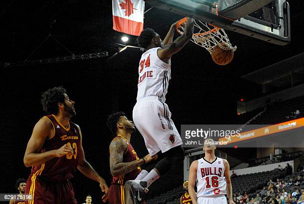 Alfonzo McKinnie of the Windy City Bulls gets his second slam dunk of the game against the Canton Charge on December 9 2016 at the Sears Centre Arena...