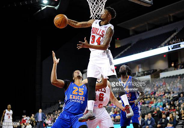 Alfonzo McKinnie of the Windy City Bulls grabs the rebound against the Westchester Knicks on January 06 2017 at the Sears Centre Arena in Hoffman...