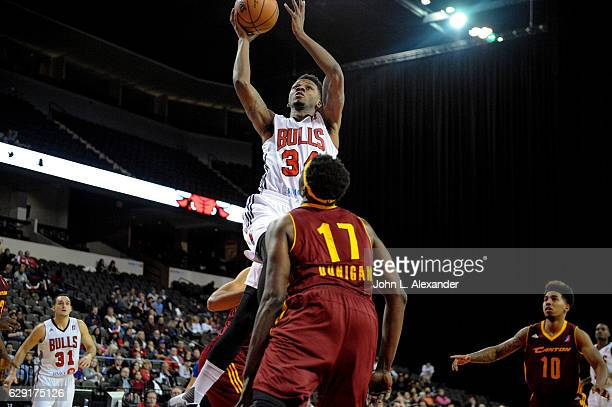 Alfonzo McKinnie of the Windy City Bulls shoots a jumper against the Canton Charge on December 9 2016 at the Sears Centre Arena in Hoffman Estates...