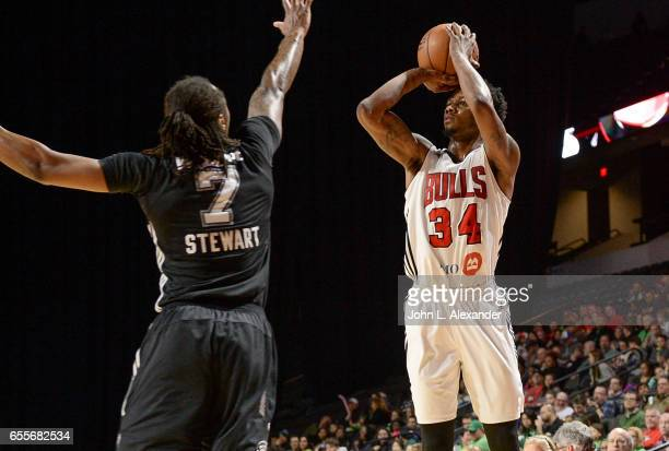 Alfonzo McKinnie of the Windy City Bulls shoots the ball against the Austin Spurs during a NBA DLeague game on March 17 2017 at the Sears Centre...