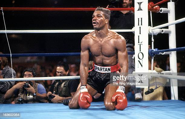 Alfonzo Ratliff sits on the canvas after being knocked down by Mike Tyson during the fight at the Hilton Hotel in Las Vegas Nevada Mike Tyson won by...