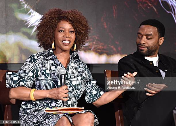 Alfre Woodard and Chiwetel Ejiofor attend the Global Press Conference for Disney's THE LION KING on July 10, 2019 in Beverly Hills, California.