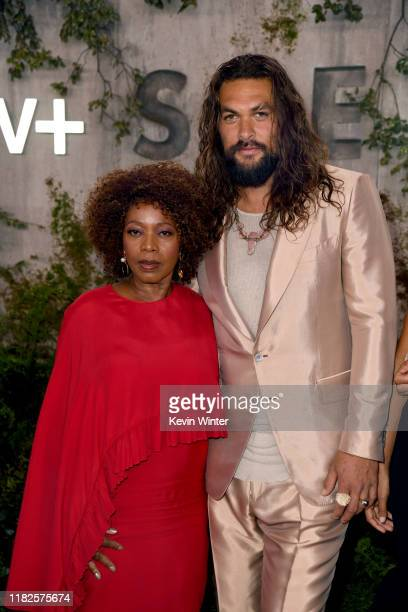 """Alfre Woodard and Jason Momoa attend the world premiere of Apple TV+'s """"See"""" at Fox Village Theater on October 21, 2019 in Los Angeles, California."""