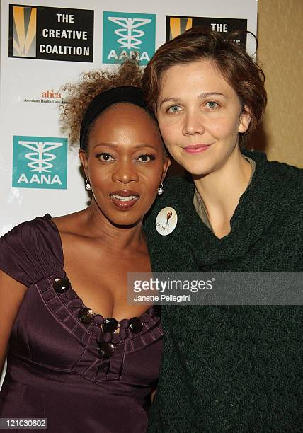 Alfre Woodard and Maggie Gyllenhaal visit the Creative Coalition's Pre-Presidential Debate hospitality suite at the Long Island Marriott Hotel &...