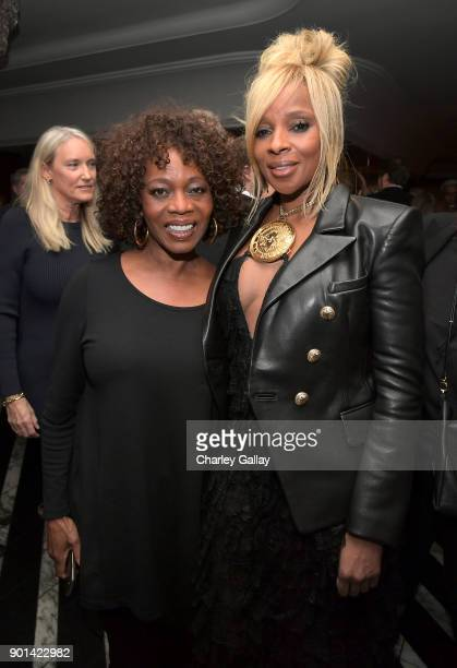 Alfre Woodard and Mary J Blige attend special screening of MUDBOUND hosted by Alfre Woodard on January 4 2018 in West Hollywood California
