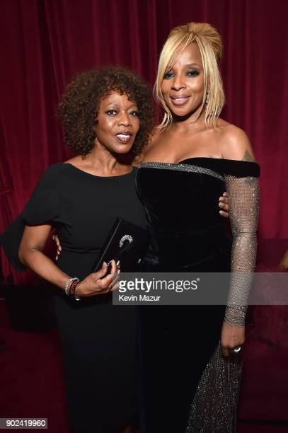 Alfre Woodard and Mary J Blige attends the Netflix Golden Globes after party at Waldorf Astoria Beverly Hills on January 7 2018 in Beverly Hills...