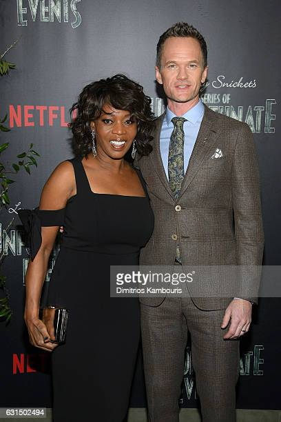 Alfre Woodard and Neil Patrick Harris attend the Lemony Snicket's a Series of Unfortunate Events screening at AMC Lincoln Square Theater on January...