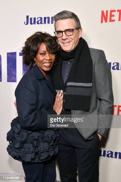 Alfre Woodard and Roderick M Spencer attend the 'Juanita' New York screening at Metrograph on March 07 2019 in New York City