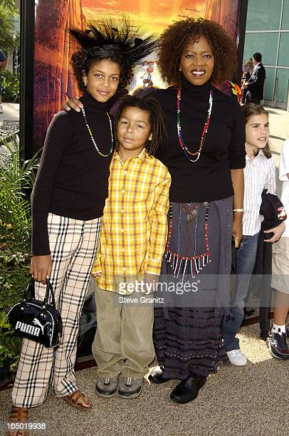 Alfre Woodard daughter Mavis Spencer son during 'The Wild Thornberrys Movie' Premiere at Cinerama Dome in Hollywood California United States
