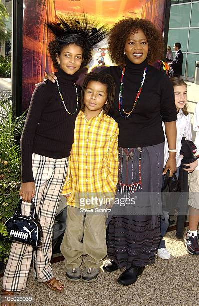 Alfre Woodard daughter Mavis Spencer son during The Wild Thornberrys Movie Premiere at Cinerama Dome in Hollywood California United States