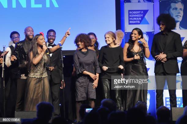 Alfre Woodard Gloria Steinem Nessa and Colin Kaepernick perform onstage during Robert F Kennedy Human Rights Hosts Annual Ripple Of Hope Awards...