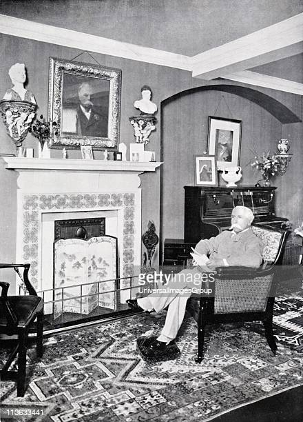 Alfred Austin British poet laureate from 1896 Austin at home at Swinford Old Manor Ashford Kent c1903