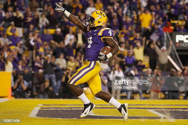 Alfred Blue of the Louisiana State University Tigers celebrates after a touchdown against the Western Kentucky Hilltoppers at Tiger Stadium on...