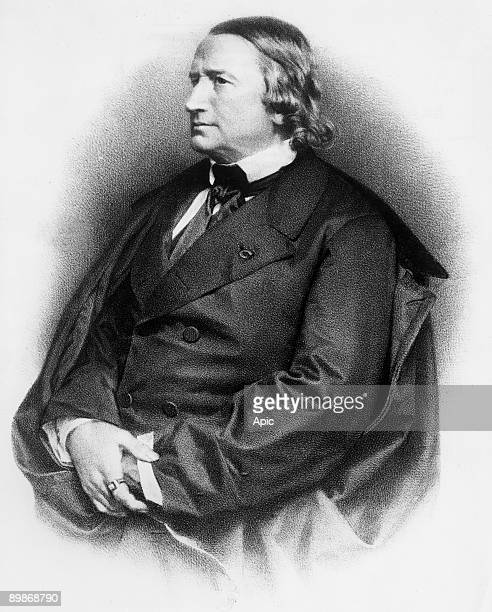 Alfred de Vigny french poet and novelist, engraving by Lafosse