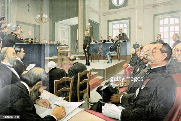 Alfred Dreyfus French army officer of Jewish extraction wrongly accused of passing secret documents to the Germans in the courtroom at the time of...