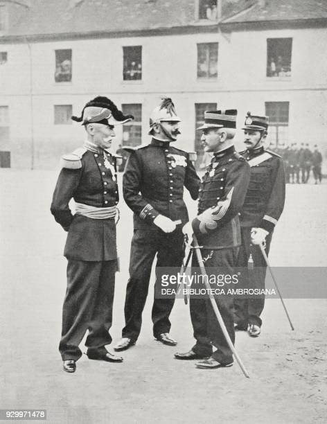 Alfred Dreyfus receiving the Legion d'Honneur in the courtyard of the Paris Military School, together with the General Gillain and Commander Targe,...