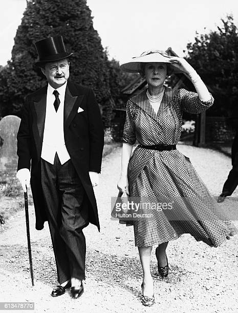 Alfred Duff Cooper a British politician and 1st Viscount Norwich with his wife Viscountess Norwich in 1952