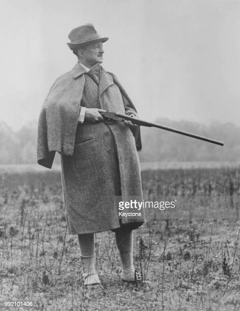 Alfred Duff Cooper , the former British Ambassador to France, during a shooting party at Rambouillet in France, organised by French President Vincent...