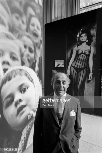 Alfred Eisenstaedt , renowned German born American staff photographer for Life magazine at his Witness to our time exhibit, August 28th, 1966.