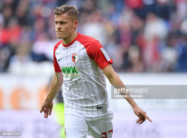 Alfred Finnbogason of Augsburg celebrates his teams first goal during the Bundesliga match between FC Augsburg and 1 FC Koeln at WWKArena on...