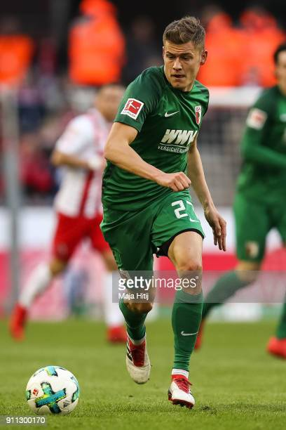 Alfred Finnbogason of Augsburg controls the ball during the Bundesliga match between 1 FC Koeln and FC Augsburg at RheinEnergieStadion on January 27...