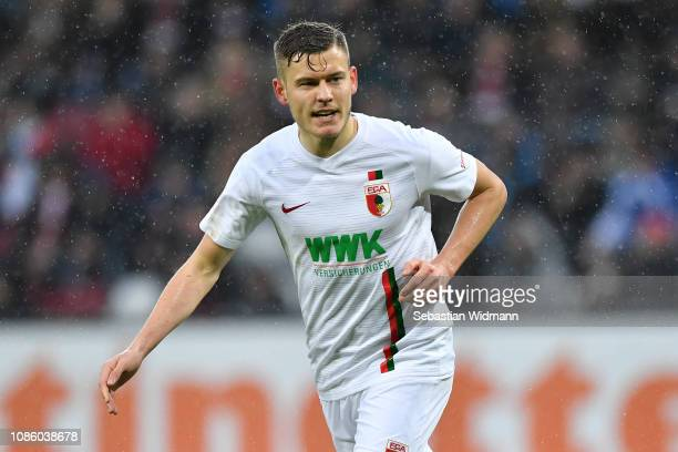 Alfred Finnbogason of Augsburg looks on during the Bundesliga match between FC Augsburg and VfL Wolfsburg at WWKArena on December 23 2018 in Augsburg...