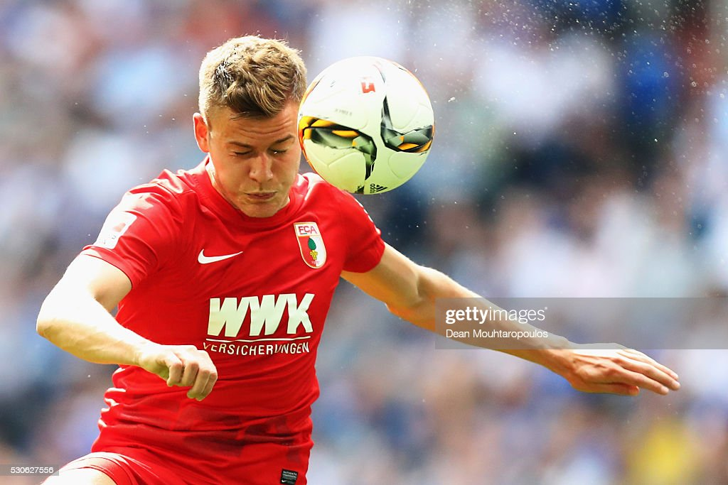 Alfred Finnbogason of FC Augsburg in action during the Bundesliga match between FC Schalke 04 and FC Augsburg held at Veltins-Arena on May 7, 2016 in Gelsenkirchen, Germany.