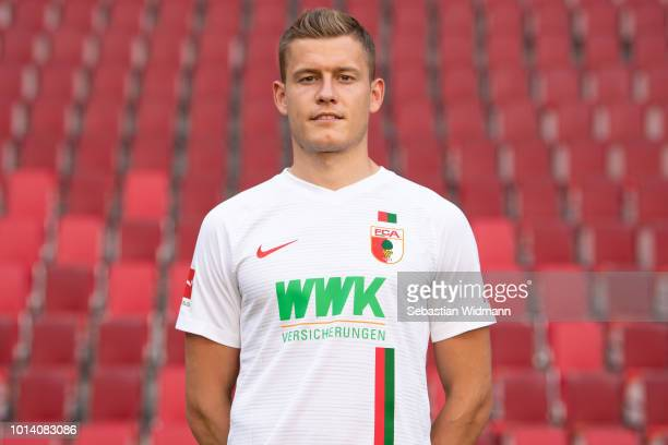 Alfred Finnbogason of FC Augsburg poses during the team presentation at WWK Arena on August 9 2018 in Augsburg Germany