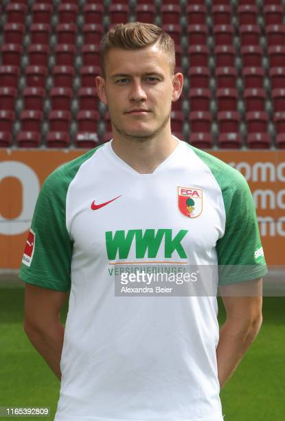 Alfred Finnbogason of FC Augsburg poses during the team presentation at WWK-Arena on July 31, 2019 in Augsburg, Germany.