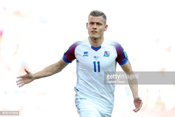 Alfred Finnbogason of Iceland celebrates after scoring his team's first goal during the 2018 FIFA World Cup Russia group D match between Argentina...