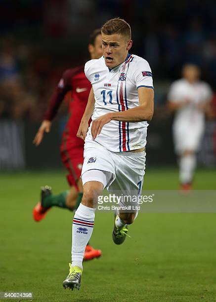 Alfred Finnbogason of Iceland in action during the UEFA Euro 2016 Group F match between Portugal and Iceland at Stade GeoffroyGuichard on June 14...