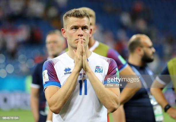 Alfred Finnbogason of Iceland looks dejected following his sides defeat in the 2018 FIFA World Cup Russia group D match between Iceland and Croatia...