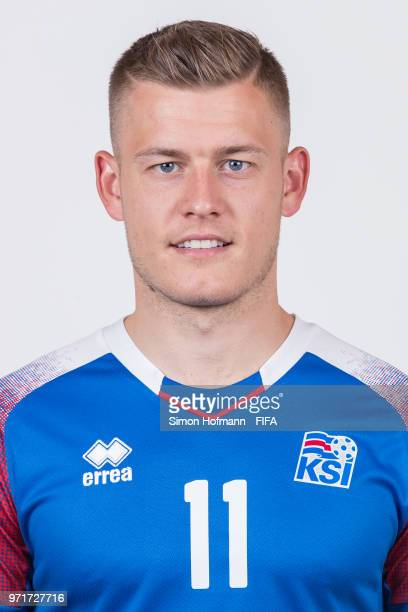 Alfred Finnbogason of Iceland poses during the official FIFA World Cup 2018 portrait session at Resort Centre Nadezhda on June 11 2018 in Gelendzhik...