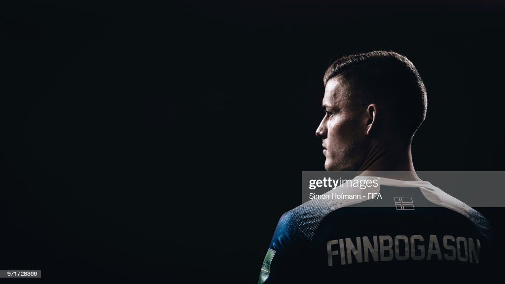 Alfred Finnbogason of Iceland poses during the official FIFA World Cup 2018 portrait session at Resort Centre Nadezhda on June 11, 2018 in Gelendzhik, Russia.