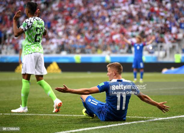 Alfred Finnbogason of Iceland reacts as he goes to ground before a penalty is then awarded after a VAR review during the 2018 FIFA World Cup Russia...