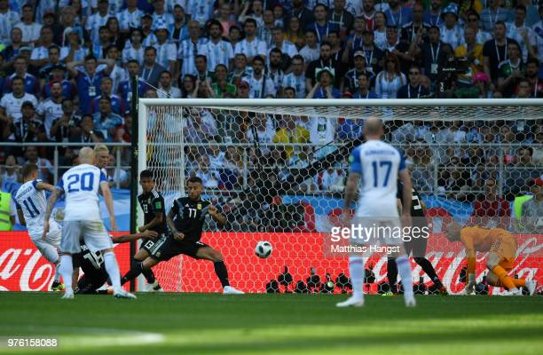 Alfred Finnbogason of Iceland scores his team's first goal during the 2018 FIFA World Cup Russia group D match between Argentina and Iceland at...