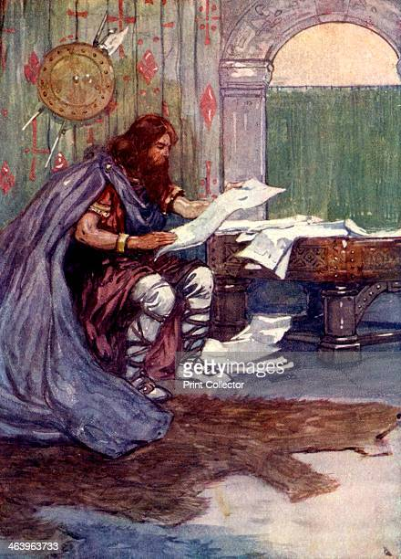 'Alfred found much pleasure in reading' 9th century King Alfred the Great reading a book Illustration from Our Island Story by H E Marshall published...