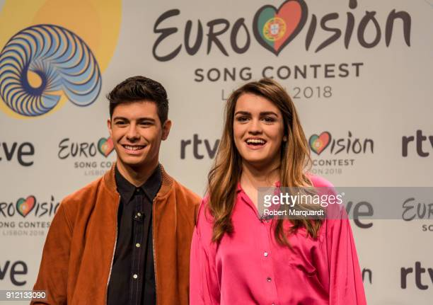 Alfred Garcia and Amaia Romero attend a press conference for 'Operacion Triunfo' for Eurovision at the RTVE studios on January 30 2018 in Barcelona...
