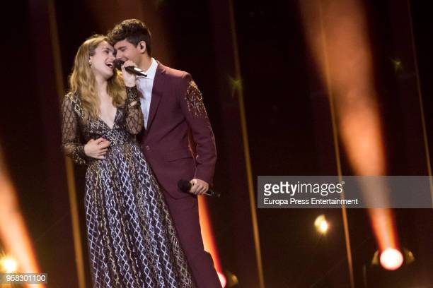 Alfred Garcia and Amaia Romreo from Spain perform during the second Grand Final Dress Rehearsal of Eurovision Song Contest 2018 in Altice Arena on...